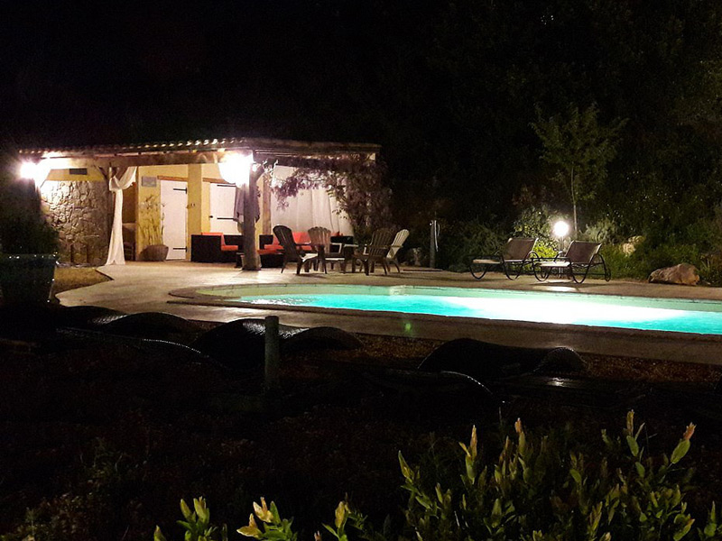 Pool and cabana by night